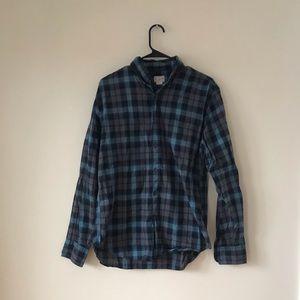 J. Crew Blue and Gray Checkered Long Sleeve Shirt
